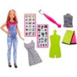 Barbie ruhatervező szett matricákkal, szőke hajú babával