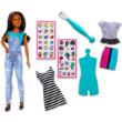 Barbie ruhatervező szett matricákkal, barna hajú babával