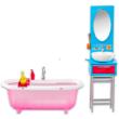Barbie bútorok: fürdőszoba barna hajú Barbie-val