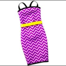 Barbie ruhák: lila cikkcakkos ruha