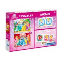 Clementoni Disney Hercegnők + Memória + dominó -  Puzzle 2x30 darabos