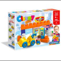 Clemmy Puha, bébi építőjáték szett - Benzinkút készlet 15 db