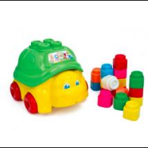 Clemmy Baby Puha, bébi építőjáték szett - Teknős vödör 15 db