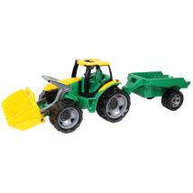 LENA Óriás traktor homlokrakodóval és utánfutóval zöld/sárga színben - 108 cm