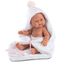 Llorens Bebita újszülött baba fürdőköpennyel 26 cm.