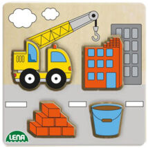 LENA: Darus munkagép fa formaillesztő puzzle