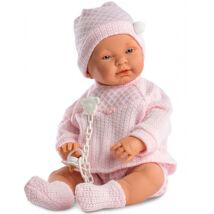 Llorens csecsemő lány baba rózsaszín ruhában 45 cm