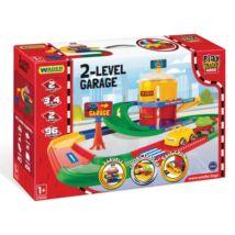 Wader Play Tracks 2 szintes garázs utánfutós kisautóval