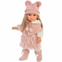 Llorens Elena 35cm-es baba rózsaszín ruhában