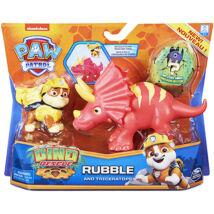 Mancs őrjárat Dino Rescue: Rubble figura Triceratops dinoszaurusszal