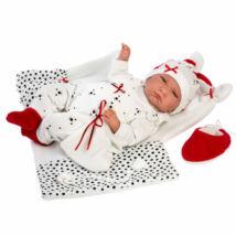 Llorens Lalo újszülött sírós fiú baba kutyusos ruhában