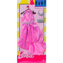 Barbie: rózsaszín-szürke ruha táskával és nyaklánccal