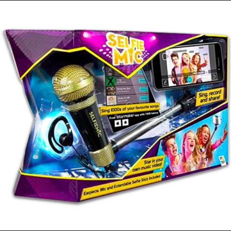 Selfie mic mikrofon szelfie bottal - arany-fekete