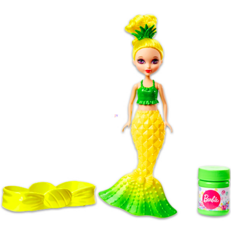 Barbie Dreamtopia: buborékfújó sellőbaba - citromsárga