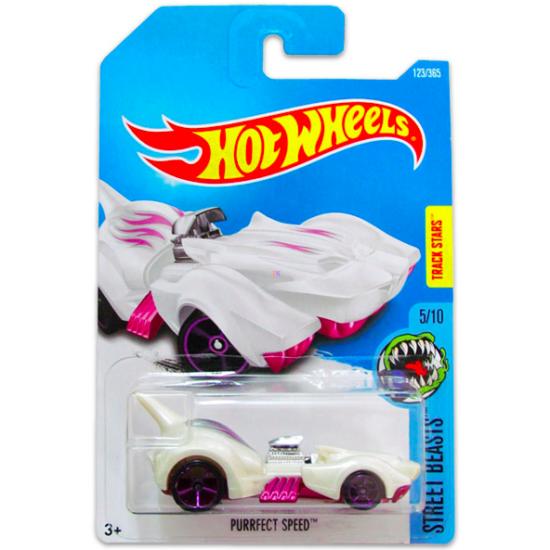 Hot Wheels Street Beasts: Purrfect Speed kisautó - fehér-lila
