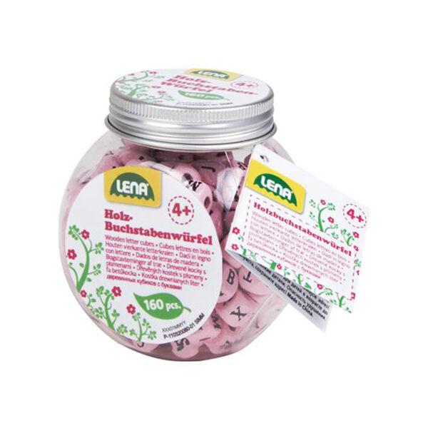LENA: Fa ABC gyöngyök dobozban rózsaszín - 160 db