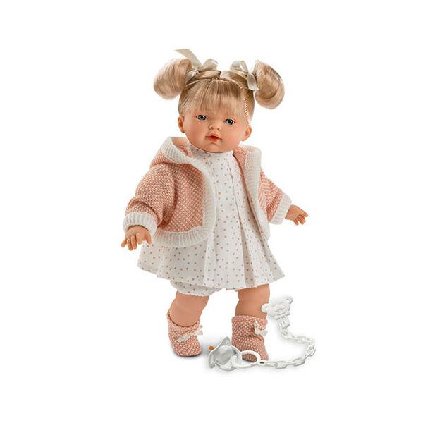 Llorens Roberta 33 cm-es baba barack színű ruhában