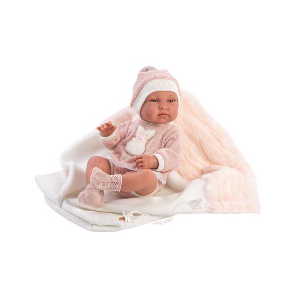 Llorens Tina újszülött lány baba pólyában 43 cm