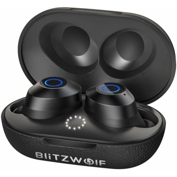 BlitzWolf® BW-FYE5 - vezeték nélküli mini fülhallgató töltődobozzal, Bluetooth 5.0 (IPX6) - fekete