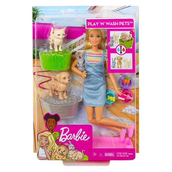 Barbie: állatka napközi szett szőke hajú babával
