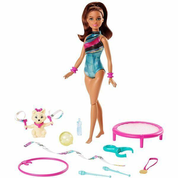 Barbie: Talajtornász barbie, szurkoló kiskutyával